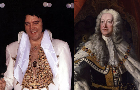 Elvis and George II: Kings who died on the throne.